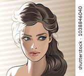 woman portrait in backlight....   Shutterstock .eps vector #1038846040