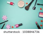flat lay frame composition  top ... | Shutterstock . vector #1038846736