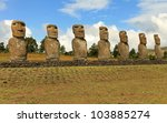 The mystery of Easter Island and the seven giant moai statues - stock photo