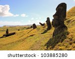 The mystery of Easter Island and the giant moai statues in the Quarry - stock photo