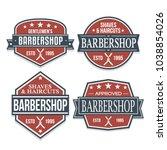 barber shop quality seal stamp...   Shutterstock .eps vector #1038854026