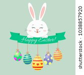 easter bunny  green ribbon and... | Shutterstock . vector #1038857920