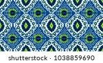 ikat geometric folklore... | Shutterstock .eps vector #1038859690