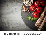 pasta in a composition with... | Shutterstock . vector #1038861229