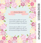 template with flowers for party ... | Shutterstock .eps vector #1038863038