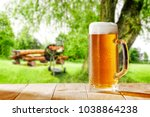 beer and grill time in garden  | Shutterstock . vector #1038864238