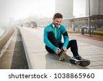 determined sportsman fitness... | Shutterstock . vector #1038865960