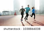 friends fitness training... | Shutterstock . vector #1038866038