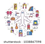 staff working and registering... | Shutterstock .eps vector #1038867598