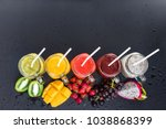 set fresh range color juices... | Shutterstock . vector #1038868399