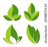 grean leaves as logotypes for... | Shutterstock .eps vector #1038870124