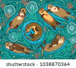 seamless pattern with cute... | Shutterstock .eps vector #1038870364