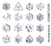 geometric technology vector... | Shutterstock .eps vector #1038871039