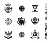 ancient crosses crown stars and ... | Shutterstock .eps vector #1038871210