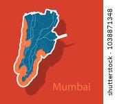 sticker map of mumbai. | Shutterstock .eps vector #1038871348
