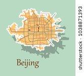 beijing city map sticker... | Shutterstock .eps vector #1038871393