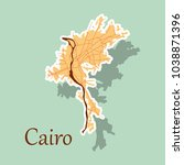 map of cairo  city  streets ... | Shutterstock .eps vector #1038871396