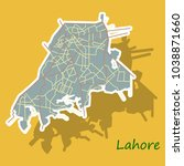 lahore city map color sticker... | Shutterstock .eps vector #1038871660
