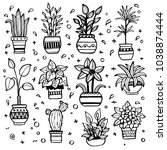 set of different hand drawn... | Shutterstock .eps vector #1038874444