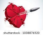 heart broken with bullet gun... | Shutterstock .eps vector #1038876520