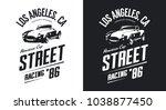 vintage roadster car black and... | Shutterstock .eps vector #1038877450