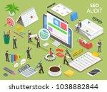 seo audit flat isometric... | Shutterstock . vector #1038882844