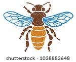 bee linocut linocut... | Shutterstock .eps vector #1038883648