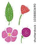 flower  leaf linocut linocut... | Shutterstock .eps vector #1038883690