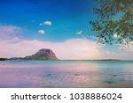 fantastic sunset sky on the... | Shutterstock . vector #1038886024