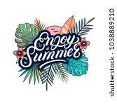 enjoy summer hand written... | Shutterstock . vector #1038889210