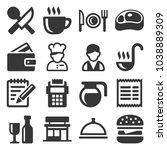 restaurant   cooking and... | Shutterstock .eps vector #1038889309