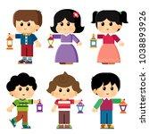 kids celebrating ramadan kareem ... | Shutterstock .eps vector #1038893926