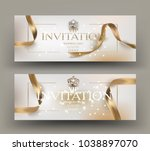 vip invitation card with gold... | Shutterstock .eps vector #1038897070