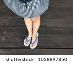 blue shoes isolated on wood... | Shutterstock . vector #1038897850