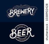 set of beer and brewery hand... | Shutterstock . vector #1038902428