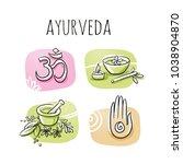 set of ayurveda and wellness... | Shutterstock .eps vector #1038904870