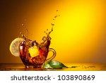 cup tea and lemon | Shutterstock . vector #103890869