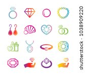 jewelry vector gradient icons ... | Shutterstock .eps vector #1038909220