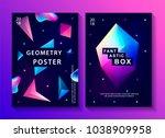 set of abstract trendy cosmic... | Shutterstock . vector #1038909958