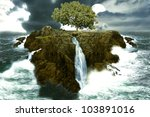 Tree Island In The Ocean With...