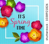 spring banner with paper... | Shutterstock .eps vector #1038921826
