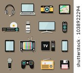 technology and multimedia... | Shutterstock .eps vector #1038922294