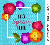 spring banner with paper... | Shutterstock .eps vector #1038923224