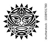 ethnic symbol mask of the maori ... | Shutterstock .eps vector #1038931780