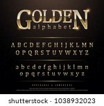 80's retro elegant gold colored ... | Shutterstock .eps vector #1038932023
