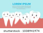 catoon tooth character crowding.... | Shutterstock .eps vector #1038941974