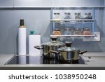 modern kitchen at home with... | Shutterstock . vector #1038950248