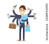 isolated multitasking dad with... | Shutterstock .eps vector #1038952090