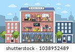 bitcoin mining center city... | Shutterstock .eps vector #1038952489