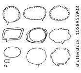 hand drawn of speech bubbles... | Shutterstock .eps vector #1038955903